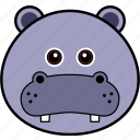 animal, cute, face, head, hippo, hippopotamus, wild icon