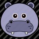 animal, cute, face, head, hippo, hippopotamus, wild icon