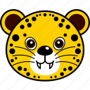 animal, cheetah, cute, face, head, leopard, wild icon