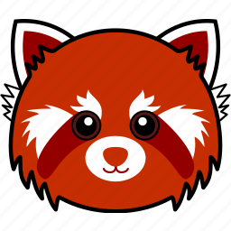 animal, cute, face, head, panda, red, red panda icon