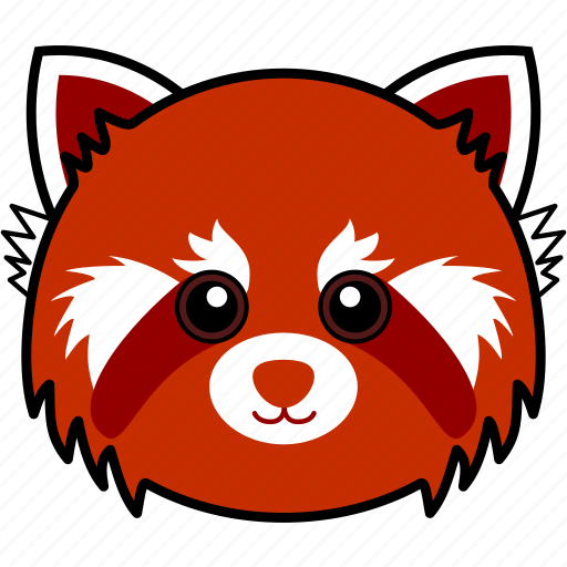 animal, cute, face, head, panda, red, red panda icon