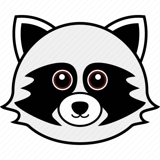 animal, cute, face, head, raccoon, wild icon
