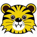 animal, cute, face, head, tiger, wild icon