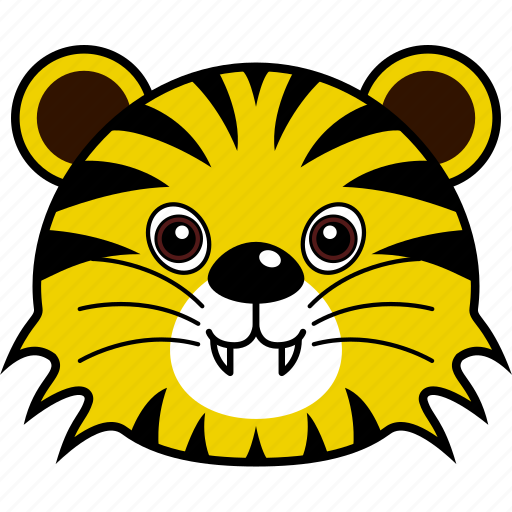 animal, cute, face, head, tiger, wild icon