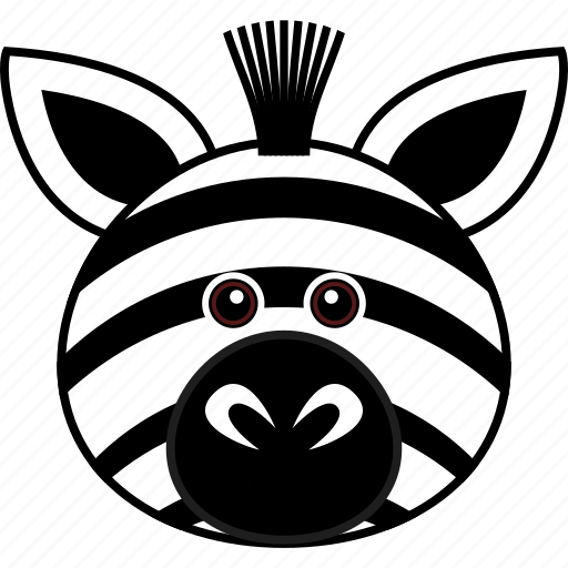 animal, cartoon, cute, face, head, wild, zebra icon
