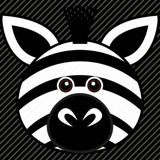 Animal Cartoon Cute Face Head Wild Zebra Icon