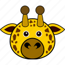 animal, cute, face, giraffe, head, wild icon