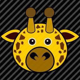animal, cute, face, giraffe, head, wild icon