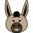 animal, cartoon, cute, donkey, face, funny, head icon