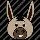 animal, cartoon, cute, donkey, face, funny, head icon