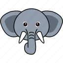 animal, cute, elephant, face, head, wild icon