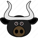 animal, buffalo, bull, cow, cute, face, head icon
