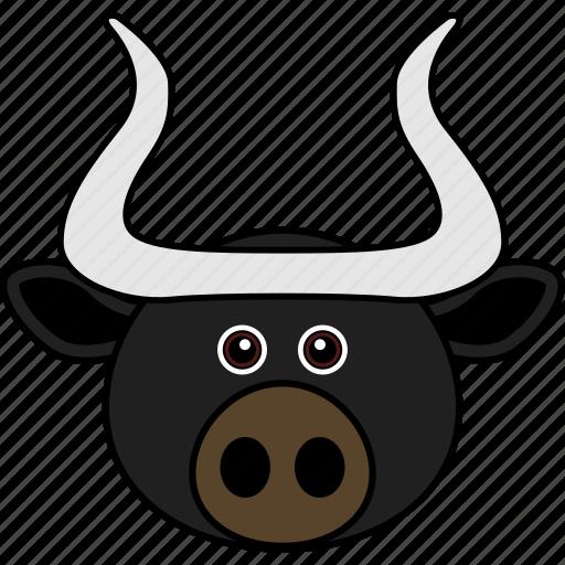 animal, buffalo, bull, cow, cute, face, head icon