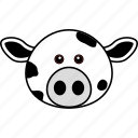 animal, cow, cute, domestic, face, farm, head icon