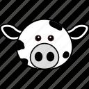 animal, cow, cute, domestic, face, farm, head