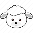animal, cute, face, farm, head, lamb, sheep icon
