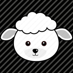 animal, cute, face, farm, head, lamb, sheep icon