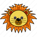 animal, cute, face, head, lion, wild icon