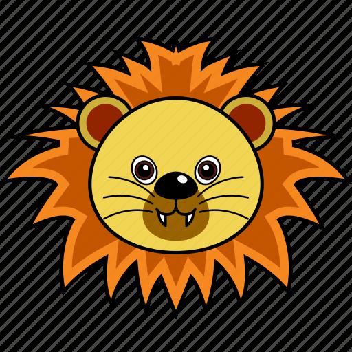 animal, cute, face, head, lion, wild icon