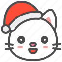 cat, christmas, hat, kitten, santa, smile, xmas icon