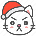 angry, cat, christmas, hat, kitten, santa, xmas
