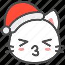 cat, christmas, hat, kiss, kitten, santa, xmas icon