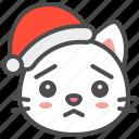 cat, christmas, hat, kitten, santa, worried, xmas