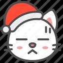 cat, christmas, hat, kitten, nervous, santa, xmas icon