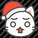 cat, christmas, hat, kitten, santa, surprise, xmas icon