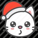 cat, christmas, hat, kitten, santa, whistling, xmas
