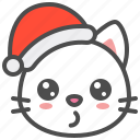 cat, christmas, hat, kitten, santa, whistling, xmas icon