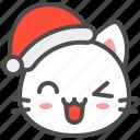 cat, christmas, hat, kitten, santa, wink, xmas icon