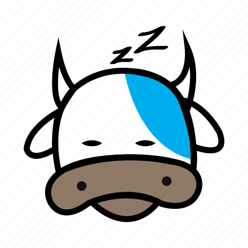cow, cow cow, cute cow, milk, sleep, sleepy, snoring icon