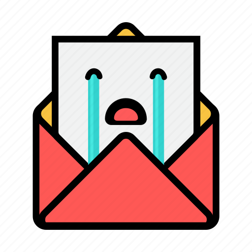 crying, envelope, letter, mail, message, news, newsletter icon