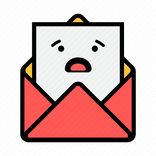envelope, letter, mail, message, news, newsletter, worried icon