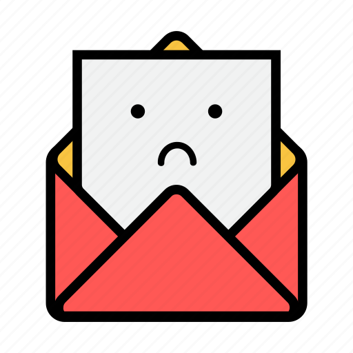 envelope, letter, mail, message, news, newsletter, sad icon
