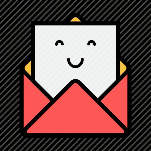 envelope, letter, mail, message, news, newsletter, smiling icon