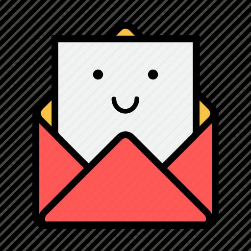 envelope, letter, mail, message, news, newsletter, smile icon
