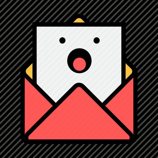 envelope, letter, mail, message, news, newsletter, shock icon