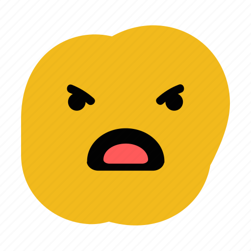 angry, doodle, emoticon, expression, upset icon