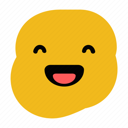 doodle, emoticon, expression, happy, laughing, laughter, smile icon
