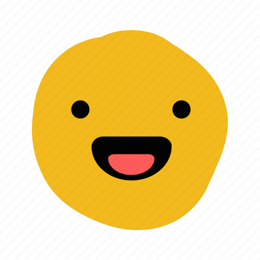 doodle, elated, emoticon, expression, happiness, happy, laughter icon