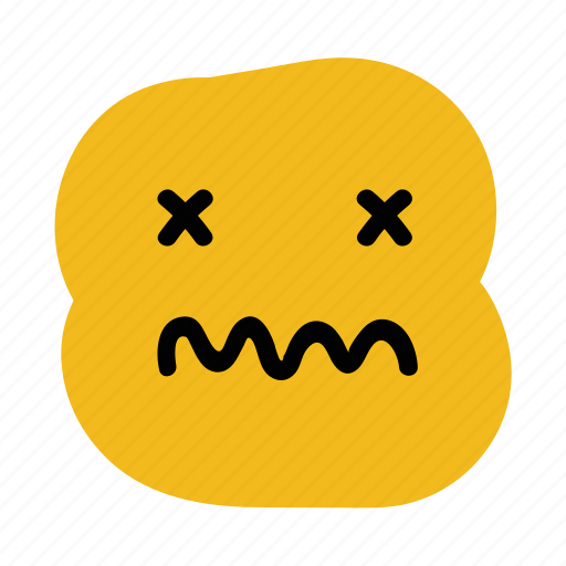 doodle, emoticon, expression, faint, sick, unwell, vomit icon