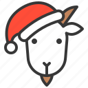 animal, avatar, christmas, farm, goat, hat, xmas icon