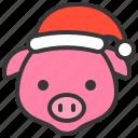 animal, avatar, christmas, farm, hat, pig, xmas