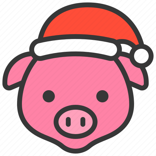 Christmas Pig.Cute Farm Animal With Christmas Hat By Icon Stall