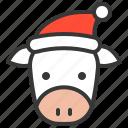 animal, avatar, christmas, cow, farm, hat, xmas