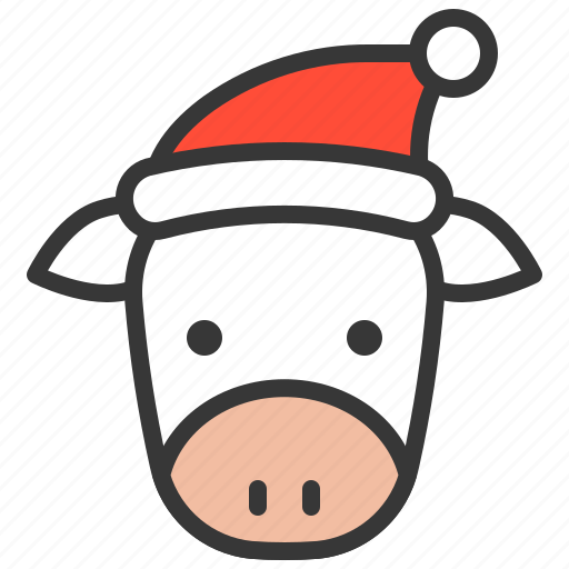 Christmas Cow.Cute Farm Animal With Christmas Hat By Icon Stall