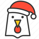chicken, christmas, farm, hat, hen, rooster, xmas icon