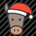 animal, avatar, christmas, donkey, farm, hat, xmas icon